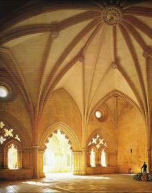 The vaulted ceiling in the Chapter House